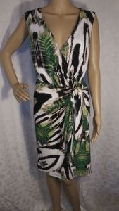 Worthington Tropical Wrap Front Sleeveless Dress